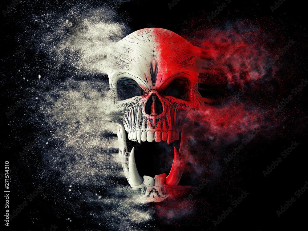 Fototapeta Red and white screaming demon skull disintegrating into dust