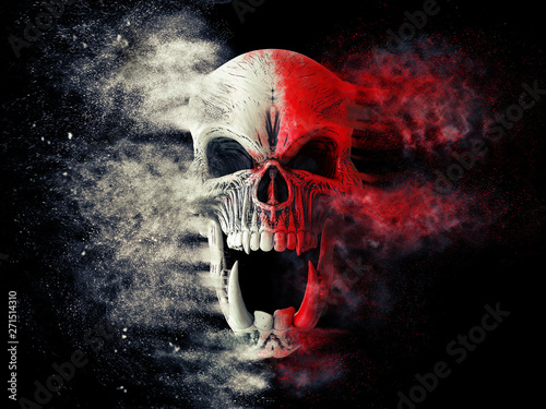 Fotomural Red and white screaming demon skull disintegrating into dust