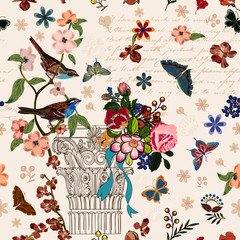 Panel Szklany Podświetlane Vintage Vintage French style architectural image enhanced with flowers, birds butterflies, script. Interacted design for your projects. It's a vector pattern, seamless and repeating pattern.