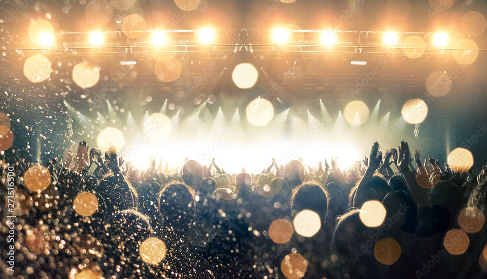 Fototapety, obrazy: Concert spectators in front of a bright stage with live music