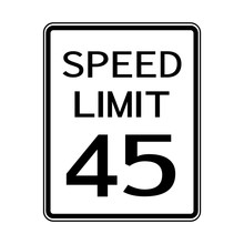 USA Road Traffic Transportation Sign: Speed Limit 45 On White Background,Vector Illustration