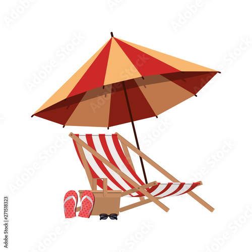 Obraz na plátne umbrella striped with beach chair in white background