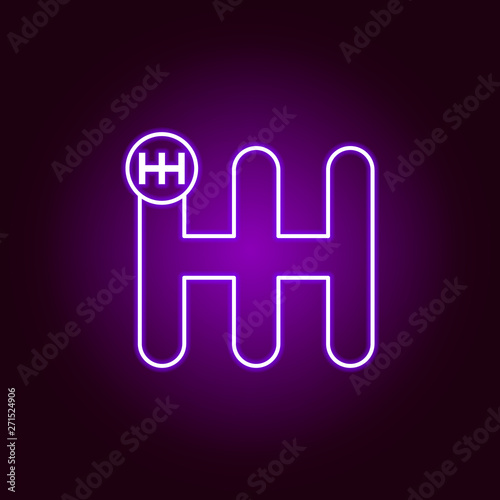 gear settings controls outline icon in neon style. Elements of car repair illustration in neon style icon. Signs and symbols can be used for web, logo, mobile app, UI, UX