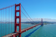 Famous Golden Gate Bridge. Suspension bridge spanning the Golden Gate. The structure links the American city of San Francisco, California, the northern tip of the San Francisco Peninsula to Marin C