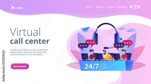 Customer service operators with headsets at computers consulting clients 24 for 7. Call center, handling call system, virtual call center concept. Website vibrant violet landing web page template.