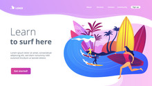 Teacher Teaching Surfing, Riding A Wave On The Surfboard In Ocean, Tiny People. Surfing School, Surf Spot Area, Learn To Surf Here Concept. Website Homepage Landing Web Page Template.