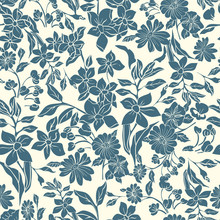 Seamless Repeat Pattern. Vector Illustration Of Indigo And Cream Leaves, Flowers, Tulips And Petunias.