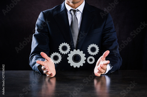 ビジネスマン、歯車 Fototapeta