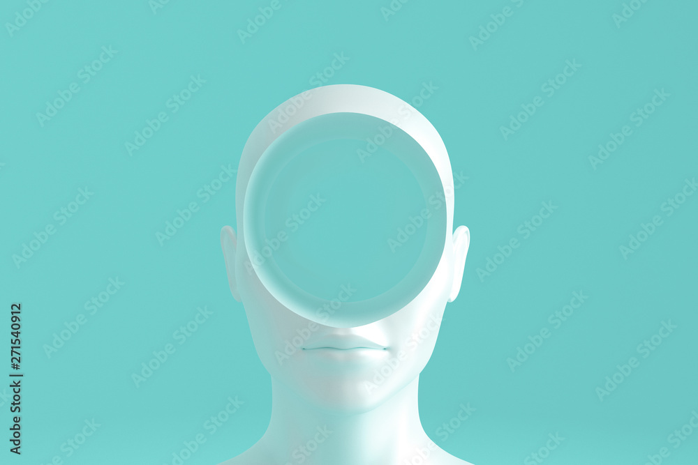 Fototapeta Concept art on education and problem solving. Porcelain female head with a round hole in it.3D illustration