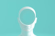 Concept art on education and problem solving. Porcelain female head with a round hole in it.3D illustration