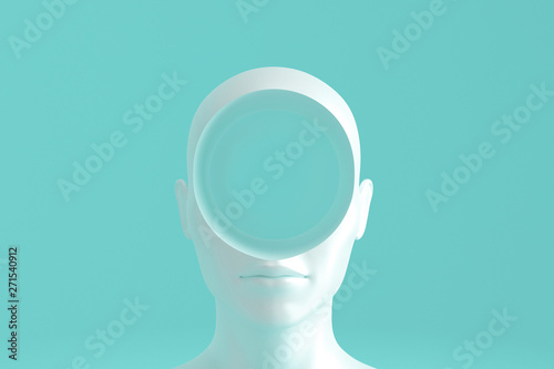 Fototapeta Concept art on education and problem solving. Porcelain female head with a round hole in it.3D illustration obraz