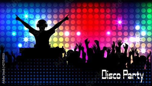 Fototapeta club life dj on the dance floor vector illustration