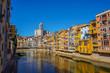 Girona. Colorful houses on the river Onyar. Beautiful town of Girona, Catalonia, Spain