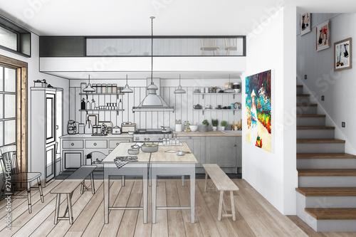Küche: aus alt mach neu (Illustration) - 3d Visualisation – kaufen ...