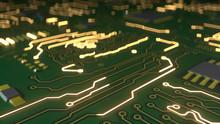 Green Circuit Board 3D Rendering