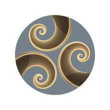 Graphic Astral Symbol With Three Spirals In Gold Silver Shades