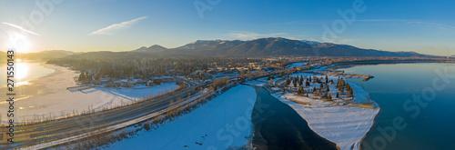 Fotografie, Obraz  Sandpoint Idaho USA Pano Drone View Lake Pend Oreille Snowy Winter Sunset Citysc