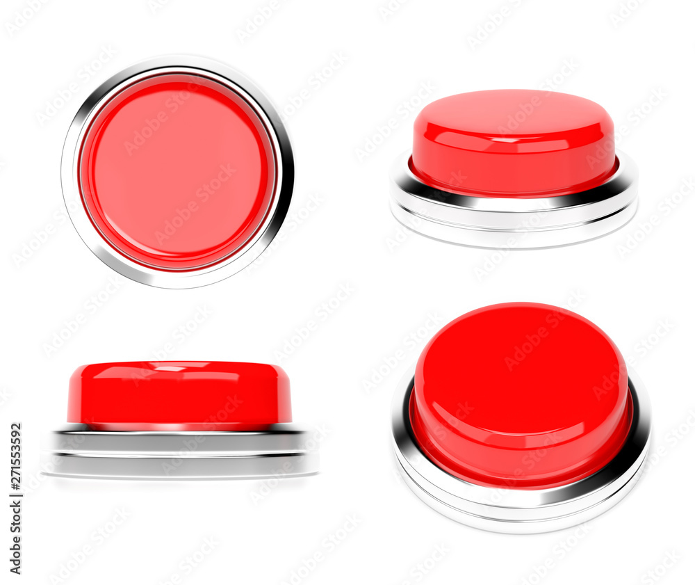 Fototapety, obrazy: Red push buttons. Set of web icons. 3d rendering illustration isolated