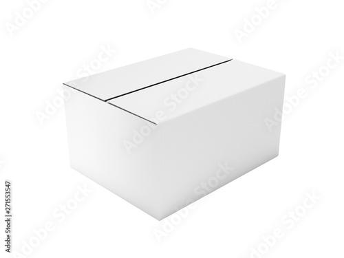 Foto Closed white corrugated carton box