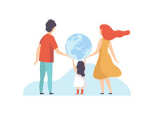 Family Holding Big Earth Globe, Mother, Father And Their Little Daughter With Terrestrial Globe, Back View Vector Illustration