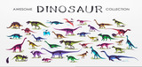Fototapeta Dinusie - Set, silhouettes, dino skeletons, dinosaurs, fossils. Hand drawn vector illustration. Comparison of sizes, realistic Sketch collection: a, triceratops, tyrannosaurus, doodle pattern