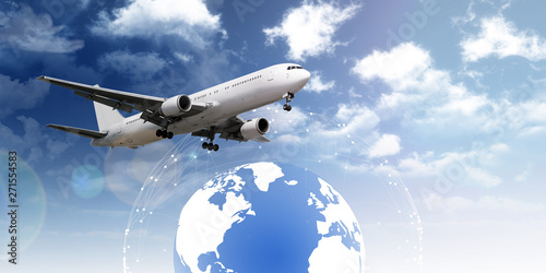 Keuken foto achterwand Canada Airplane flying over earth links transport