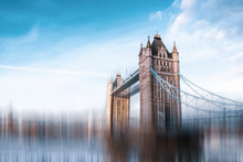 The Tower Bridge In London. Speed Effect To Suggest A Fast-paced Environment.