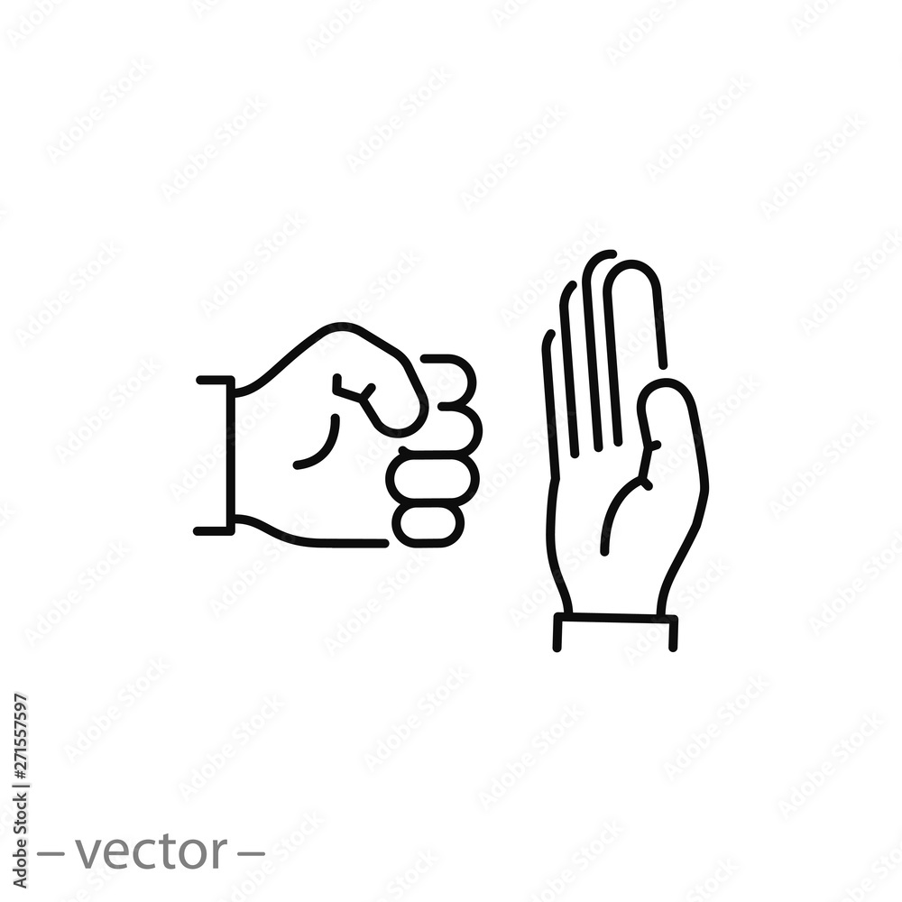 Fototapeta stop domestic violence icon, stop fist hand, line symbol on white background - editable stroke vector illustration eps10