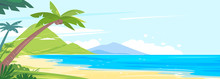 Tropical Coast With Palm Trees And Long Sandy Beach, Landscape From The Group Of Tropical Islands In The Ocean, Coconut Palm Trees On A Desert Island