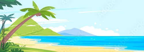 Fototapeta Tropical coast with palm trees and long sandy beach, landscape from the group of