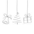 Dzwon, choinka i prezent. Rysunek jedną linią wektor