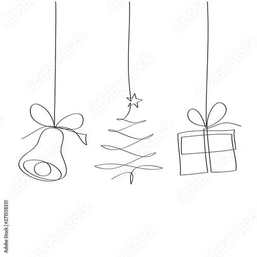 Dzwon, choinka i prezent. Rysunek jedną linią wektor - fototapety na wymiar