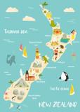 Fototapeta Fototapety na ścianę do pokoju dziecięcego - New Zealand illustrated map with bright icons