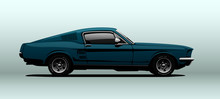 Blue Muscle Car, View From Side, In Vector