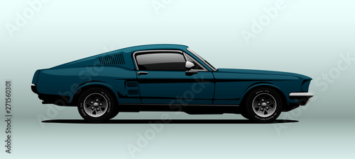 Photo sur Toile Cartoon voitures Blue muscle car, view from side, in vector