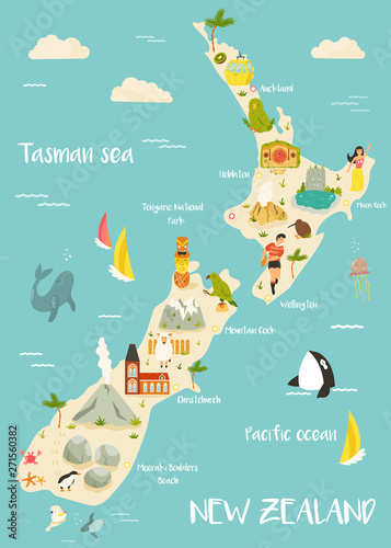 Fotografía New Zealand illustrated map with bright icons