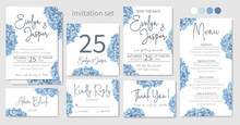 Set Of Wedding Invitations, Floral Invitations, Table, Menu, Thank You, Rsvp Card Design. Blue, Purple, Sapphirine Flower Of Hydrangea, Mophead, Lacecap, Panicle Flowers On A White Background