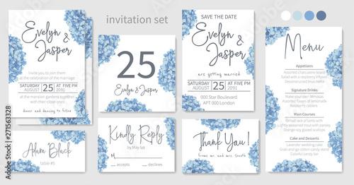 Fotografía Set of wedding invitations, floral invitations, table, menu, thank you, rsvp card design