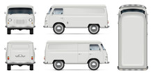 Old Minivan Vector Mockup On White Background. Isolated Panel Van View From Side, Front, Back And Top. All Elements In The Groups On Separate Layers For Easy Editing And Recolor