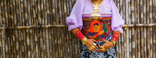 Fotomural  Traditional jewelry, Kuna ethnic group village, San Blas archipelago, Kuna Yala