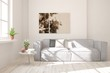 canvas print picture Stylish room in white color with sofa. Scandinavian interior design. 3D illustration