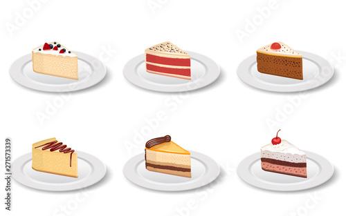 Fotografia Cake slice in the plate on the  white background