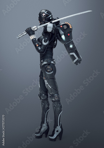 Fotografiet Science fiction cyborg female stands looking at the camera and holding a futuristic japanese samurai sword on shoulder