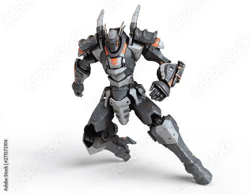 Fotografie, Obraz  Sci-fi mech warrior clenched his hands into fists in fighting position