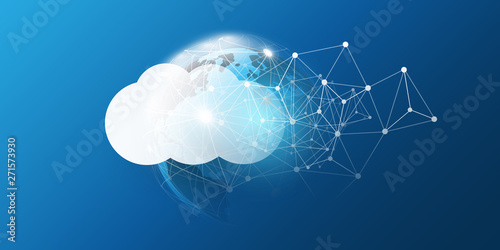 Cloud Computing Design Concept - Digital Connections, Technology Background with Fototapet