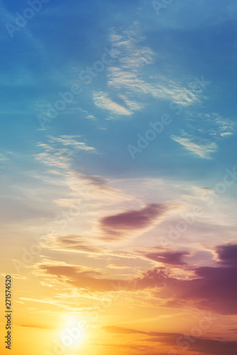 Foto auf Leinwand Blau Jeans Dramatic colorful sunset or sunrise sky landscape. Natural beautiful dawn background wallpaper. Twilight time cloudscape