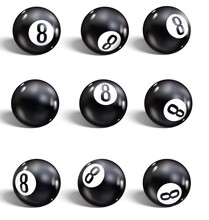 Eight Ball. Set Of Realistic 8 Ball.