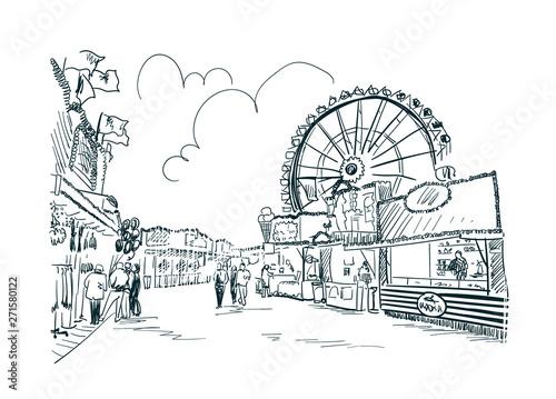Valokuva park amusement vector sketch illustration line art