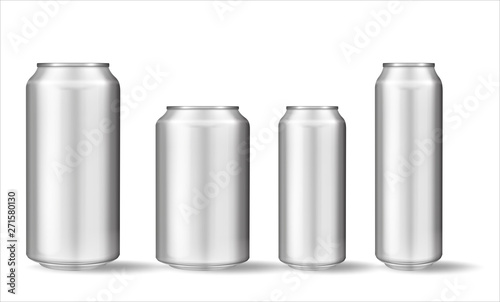 Fotomural Realistic aluminum can on white background