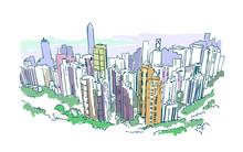 Hong Kong Vector Illustration Skyscraper Sketch Watercolor